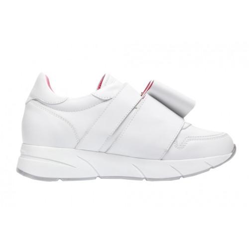 Белые женские кроссовки Blumarine с бантом